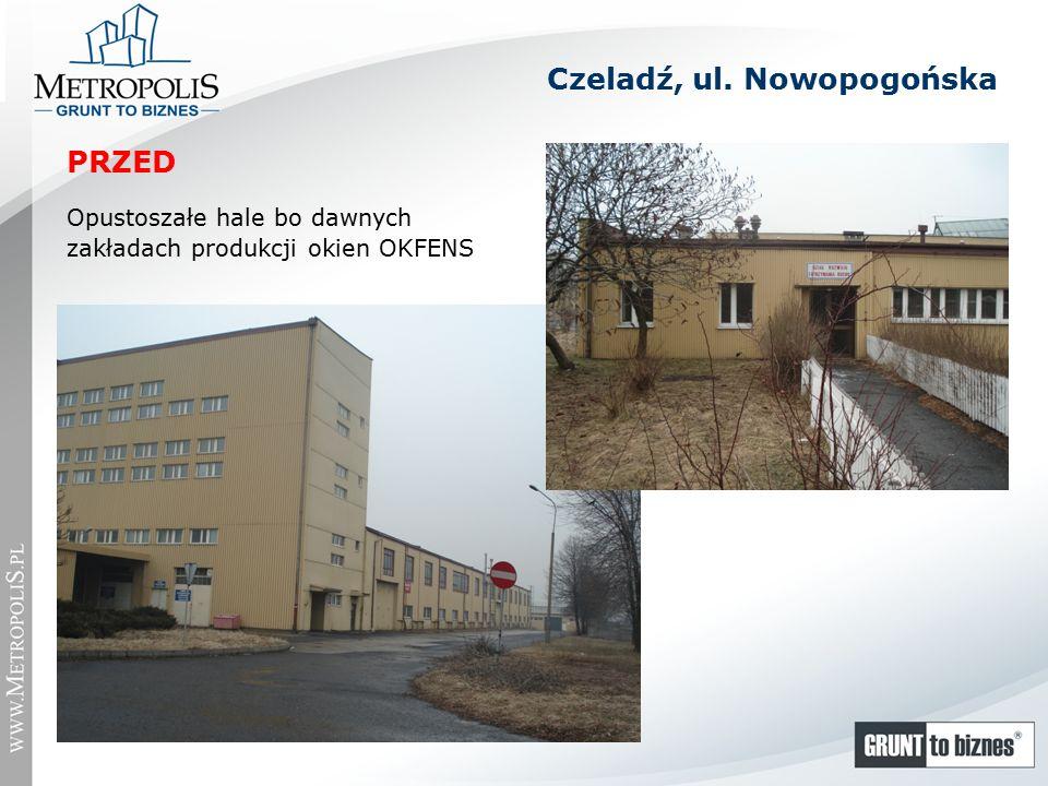 Opustoszałe hale bo dawnych zakładach produkcji okien OKFENS Czeladź, ul. Nowopogońska PRZED