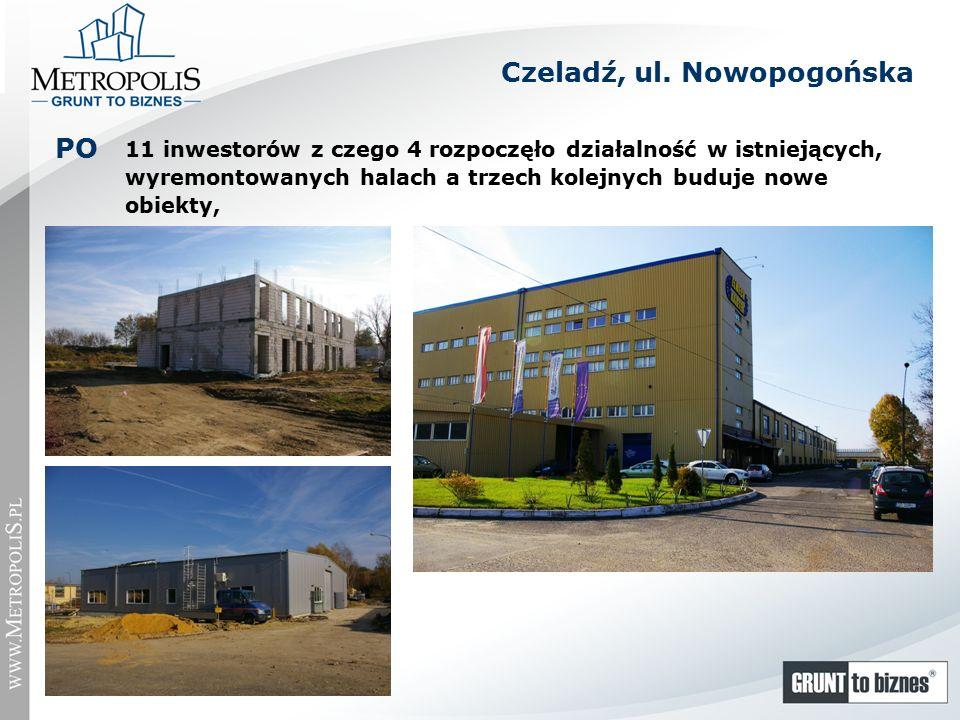 11 inwestorów z czego 4 rozpoczęło działalność w istniejących, wyremontowanych halach a trzech kolejnych buduje nowe obiekty, PO Czeladź, ul.