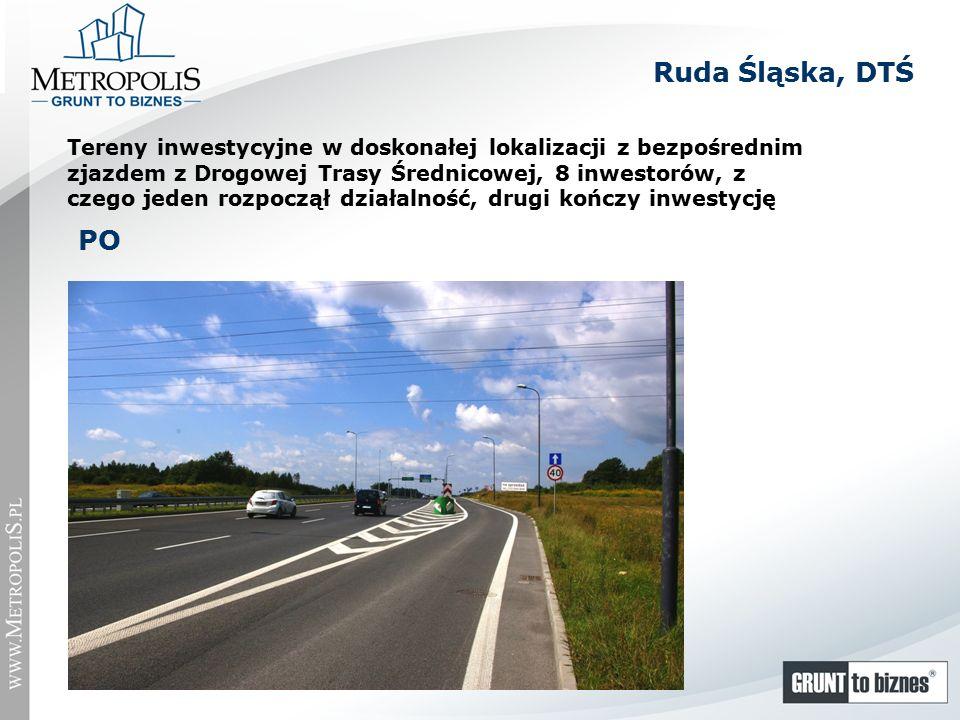 Ruda Śląska, DTŚ Tereny inwestycyjne w doskonałej lokalizacji z bezpośrednim zjazdem z Drogowej Trasy Średnicowej, 8 inwestorów, z czego jeden rozpoczął działalność, drugi kończy inwestycję PO