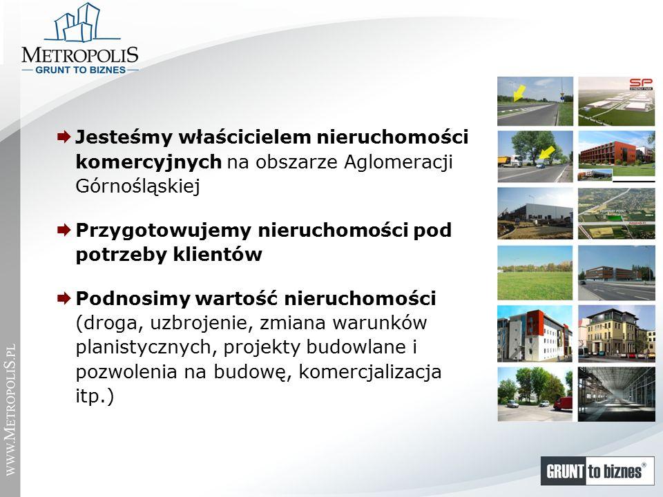  Jesteśmy właścicielem nieruchomości komercyjnych na obszarze Aglomeracji Górnośląskiej  Przygotowujemy nieruchomości pod potrzeby klientów  Podnosimy wartość nieruchomości (droga, uzbrojenie, zmiana warunków planistycznych, projekty budowlane i pozwolenia na budowę, komercjalizacja itp.)