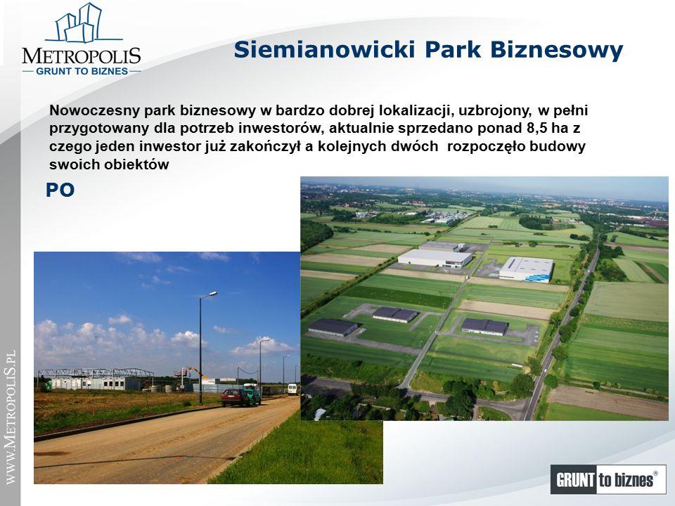 Siemianowicki Park Biznesowy Nowoczesny park biznesowy w bardzo dobrej lokalizacji, uzbrojony, w pełni przygotowany dla potrzeb inwestorów, aktualnie sprzedano ponad 8,5 ha z czego jeden inwestor już zakończył a kolejnych dwóch rozpoczęło budowy swoich obiektów PO