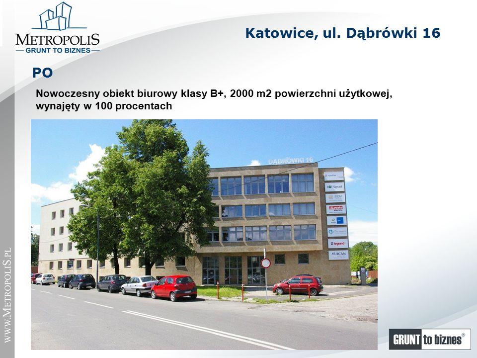 Nowoczesny obiekt biurowy klasy B+, 2000 m2 powierzchni użytkowej, wynajęty w 100 procentach PO Katowice, ul.