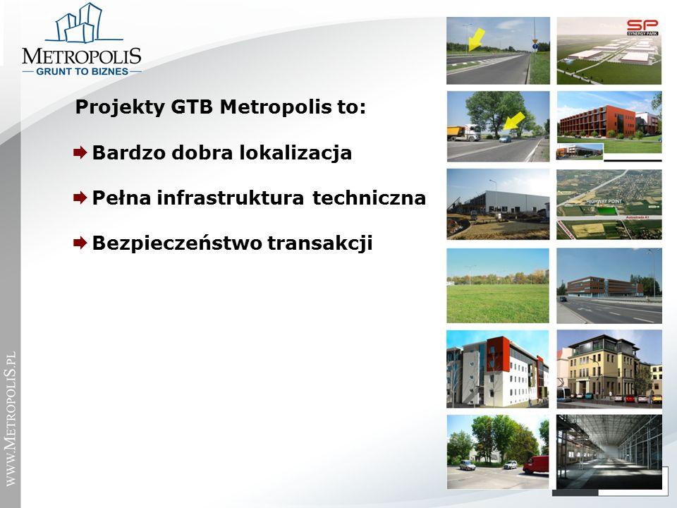  Bardzo dobra lokalizacja  Pełna infrastruktura techniczna  Bezpieczeństwo transakcji Projekty GTB Metropolis to: