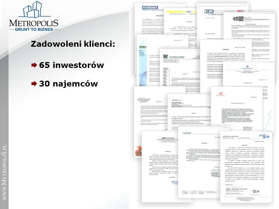 Zadowoleni klienci:  65 inwestorów  30 najemców