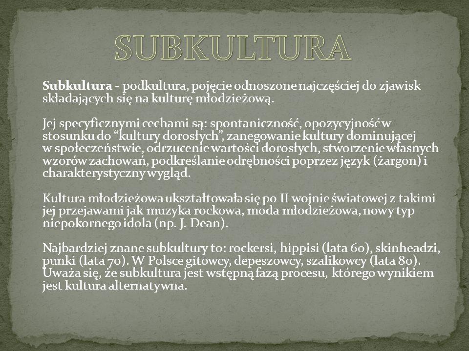 Subkultura - podkultura, pojęcie odnoszone najczęściej do zjawisk składających się na kulturę młodzieżową.