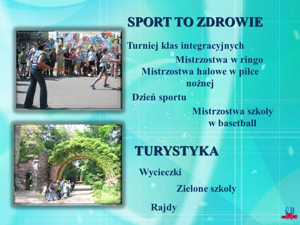 SPORT TO ZDROWIE Dzień sportu Turniej klas integracyjnych Mistrzostwa w ringo Mistrzostwa halowe w piłce nożnej Mistrzostwa szkoły w basetball TURYSTY