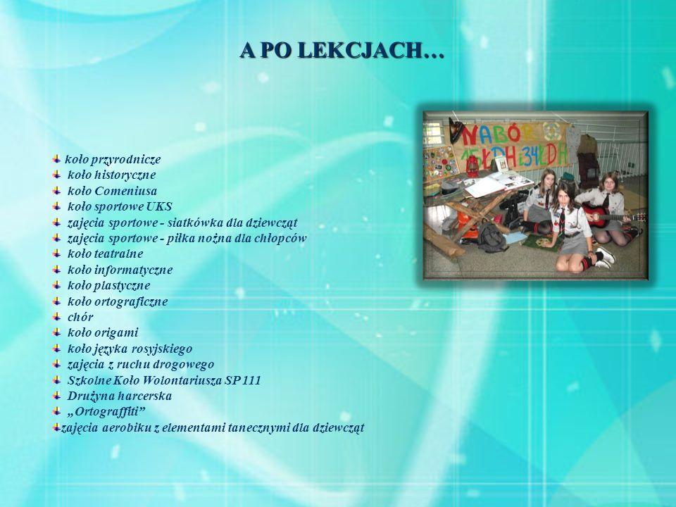 A PO LEKCJACH… koło przyrodnicze koło historyczne koło Comeniusa koło sportowe UKS zajęcia sportowe - siatkówka dla dziewcząt zajęcia sportowe - piłka