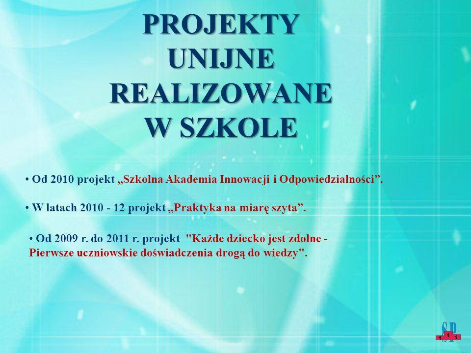 PROJEKTY UNIJNE REALIZOWANE W SZKOLE Od 2009 r. do 2011 r.