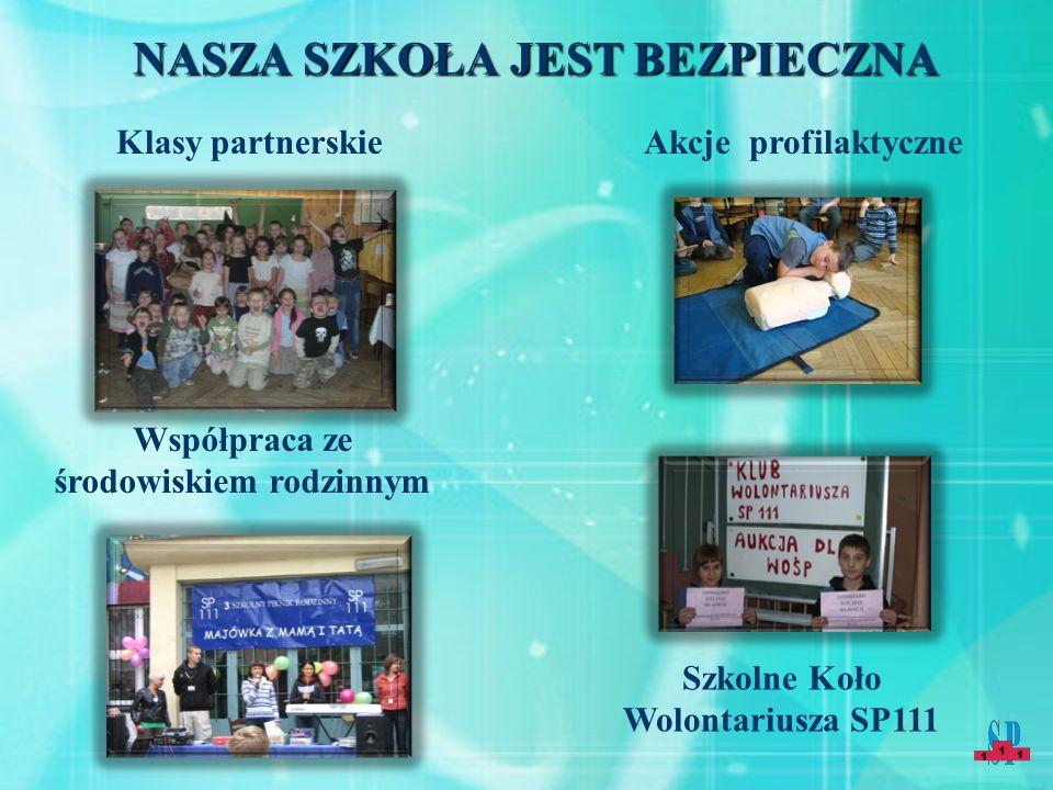 NASZA SZKOŁA JEST BEZPIECZNA Klasy partnerskieAkcje profilaktyczne Współpraca ze środowiskiem rodzinnym Szkolne Koło Wolontariusza SP111