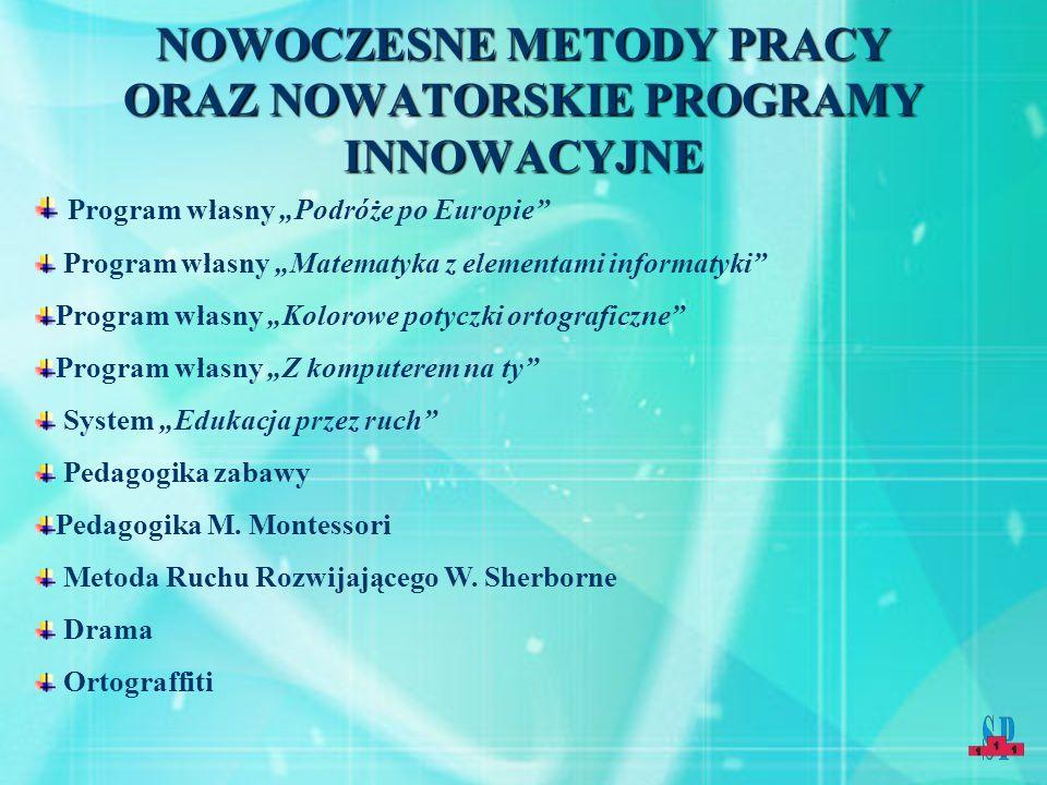 """NOWOCZESNE METODY PRACY ORAZ NOWATORSKIE PROGRAMY INNOWACYJNE Program własny """"Podróże po Europie"""" Program własny """"Matematyka z elementami informatyki"""""""