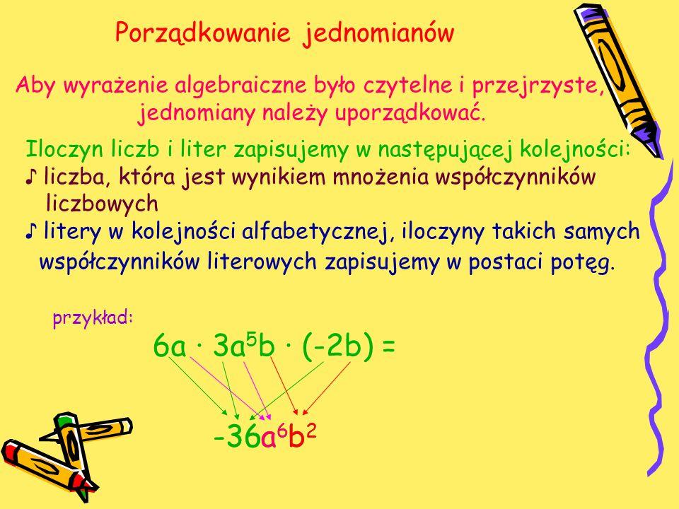 Porządkowanie jednomianów Aby wyrażenie algebraiczne było czytelne i przejrzyste, jednomiany należy uporządkować.