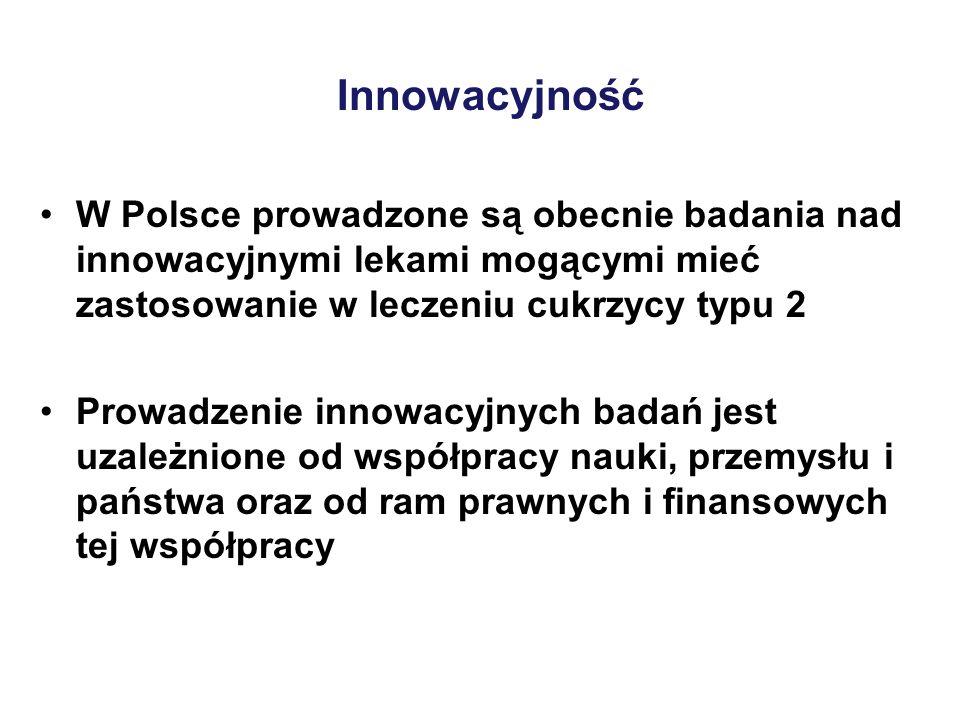 W Polsce prowadzone są obecnie badania nad innowacyjnymi lekami mogącymi mieć zastosowanie w leczeniu cukrzycy typu 2 Prowadzenie innowacyjnych badań jest uzależnione od współpracy nauki, przemysłu i państwa oraz od ram prawnych i finansowych tej współpracy