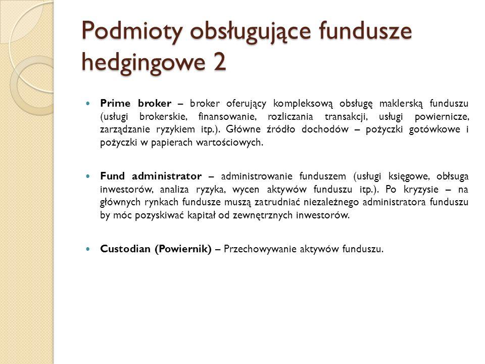 Podmioty obsługujące fundusze hedgingowe 2 Prime broker – broker oferujący kompleksową obsługę maklerską funduszu (usługi brokerskie, finansowanie, ro