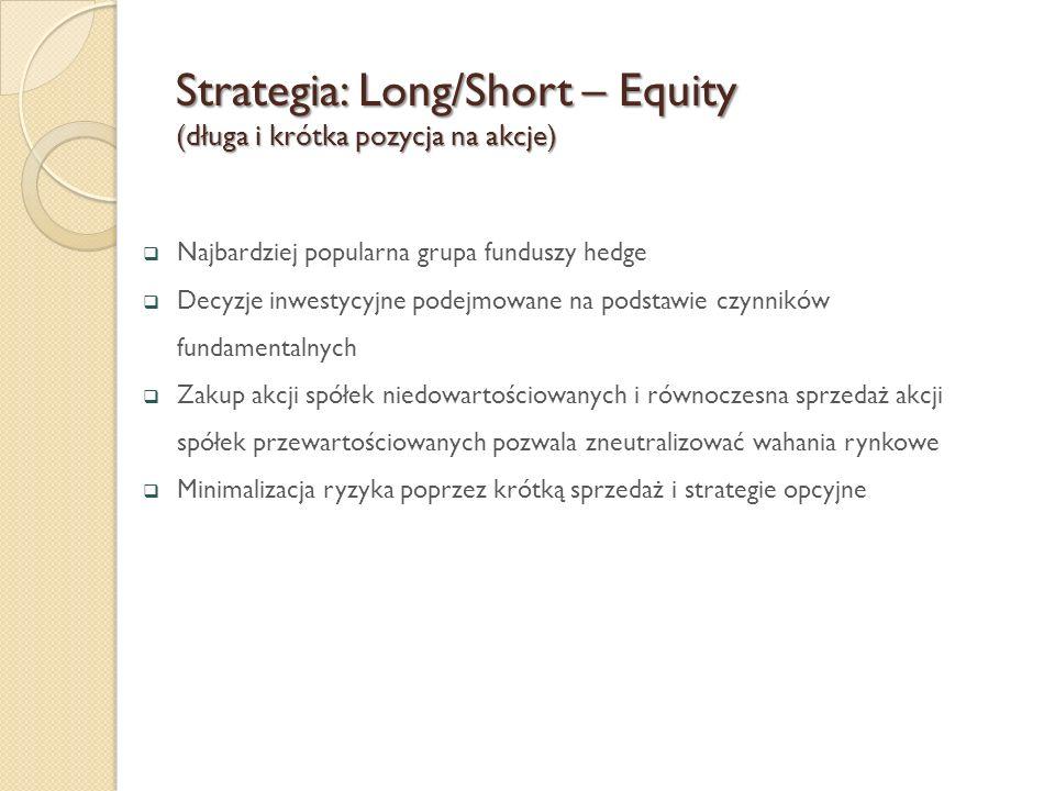  Najbardziej popularna grupa funduszy hedge  Decyzje inwestycyjne podejmowane na podstawie czynników fundamentalnych  Zakup akcji spółek niedowarto