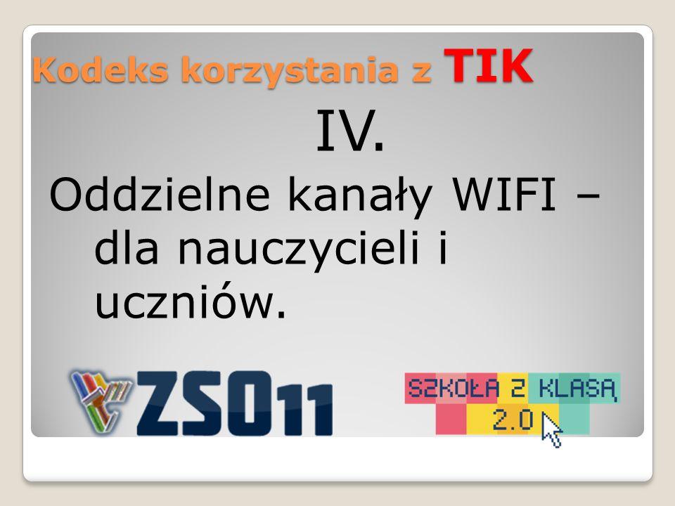 IV. Oddzielne kanały WIFI – dla nauczycieli i uczniów. Kodeks korzystania z TIK