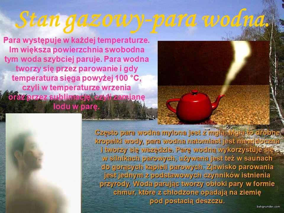Stan gazowy-para wodna. Para występuje w każdej temperaturze.