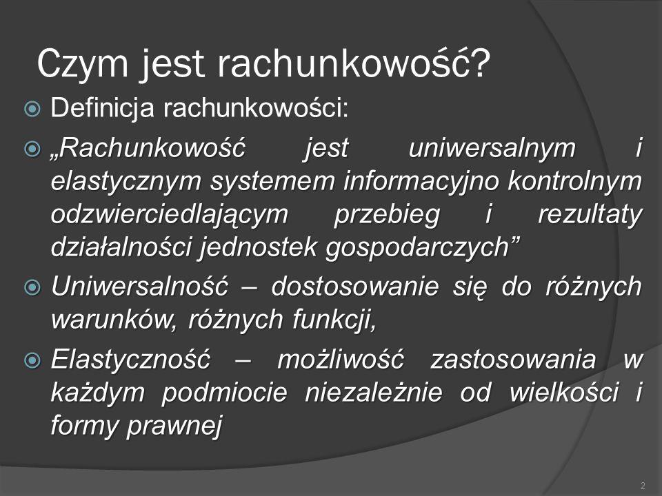 Funkcje rachunkowości  1.Informacyjna  2. Kontrolna  - strona bierna  - strona aktywna  3.