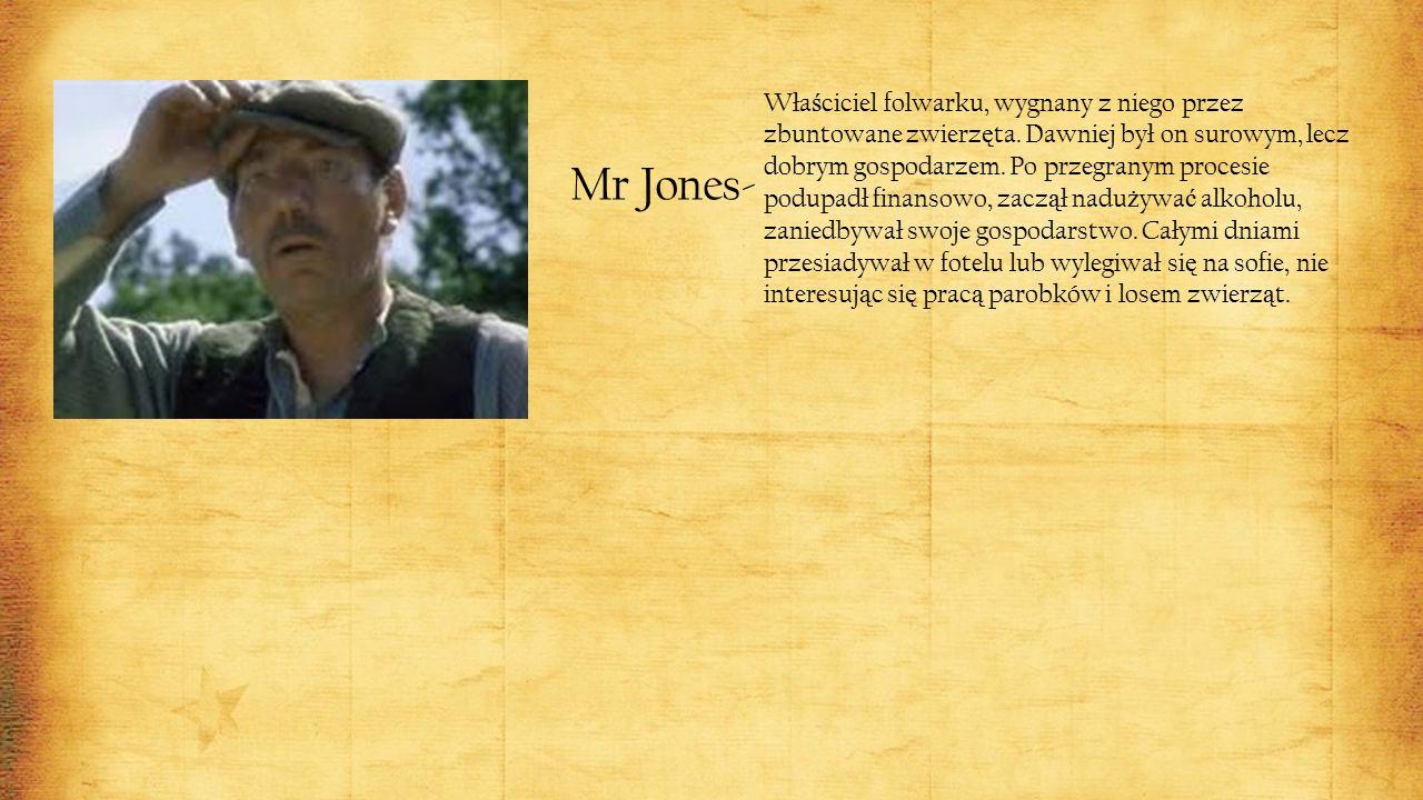 Mr Jones- Wła ś ciciel folwarku, wygnany z niego przez zbuntowane zwierz ę ta.