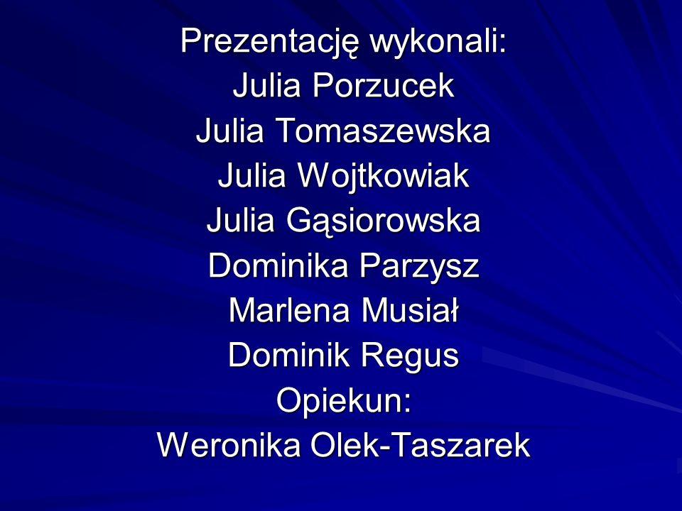 Prezentację wykonali: Julia Porzucek Julia Tomaszewska Julia Wojtkowiak Julia Gąsiorowska Dominika Parzysz Marlena Musiał Dominik Regus Opiekun: Weron