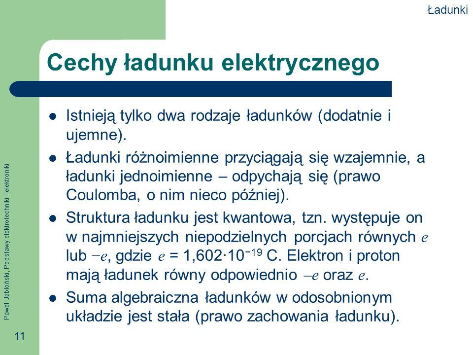Paweł Jabłoński, Podstawy elektrotechniki i elektroniki 11 Cechy ładunku elektrycznego Istnieją tylko dwa rodzaje ładunków (dodatnie i ujemne). Ładunk