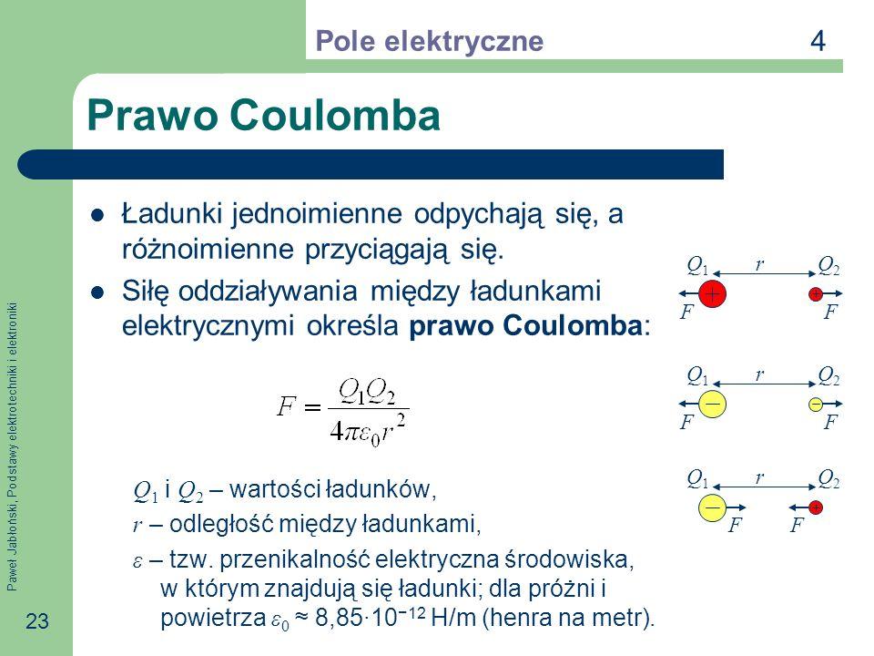 Paweł Jabłoński, Podstawy elektrotechniki i elektroniki 23 Prawo Coulomba Ładunki jednoimienne odpychają się, a różnoimienne przyciągają się. Siłę odd