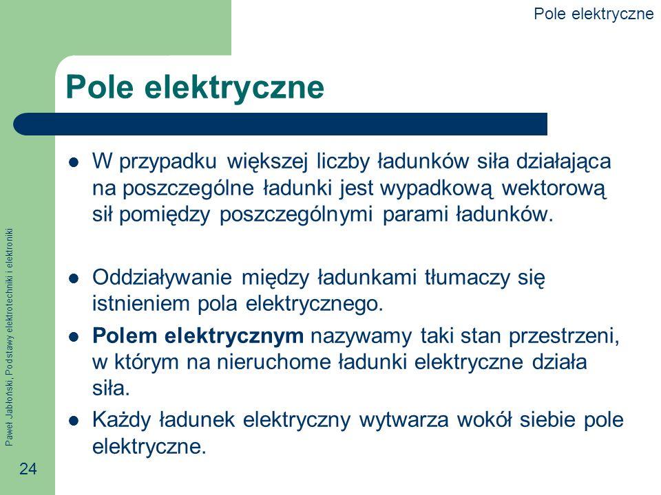 Paweł Jabłoński, Podstawy elektrotechniki i elektroniki 24 Pole elektryczne W przypadku większej liczby ładunków siła działająca na poszczególne ładun