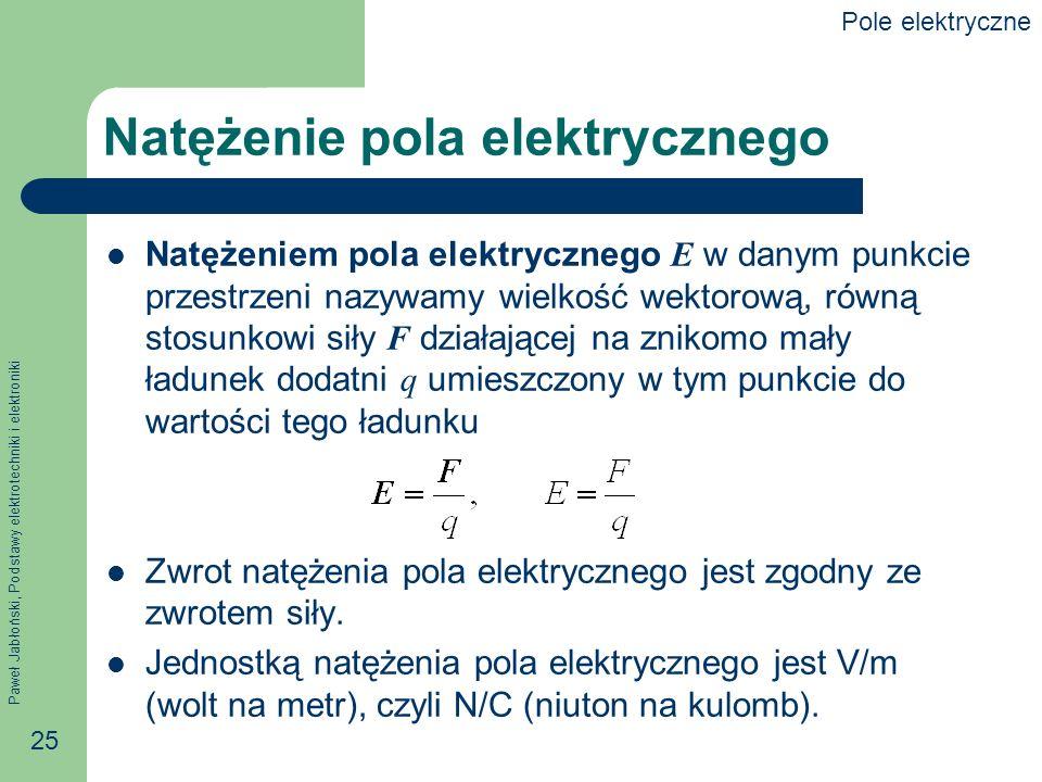 Paweł Jabłoński, Podstawy elektrotechniki i elektroniki 25 Natężenie pola elektrycznego Natężeniem pola elektrycznego E w danym punkcie przestrzeni na
