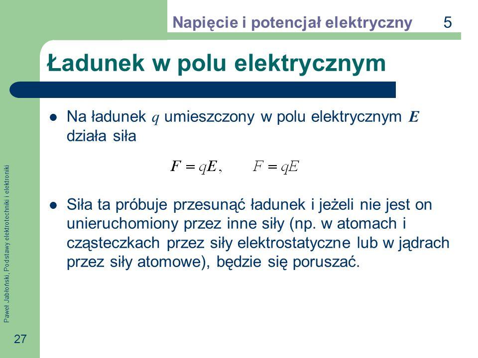 Paweł Jabłoński, Podstawy elektrotechniki i elektroniki 27 Ładunek w polu elektrycznym Na ładunek q umieszczony w polu elektrycznym E działa siła Siła