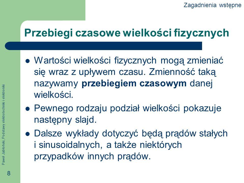 Paweł Jabłoński, Podstawy elektrotechniki i elektroniki 8 Przebiegi czasowe wielkości fizycznych Wartości wielkości fizycznych mogą zmieniać się wraz