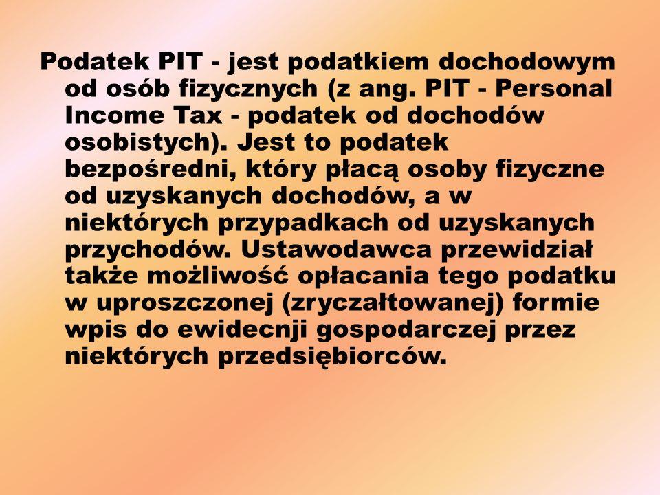 Podatek PIT - jest podatkiem dochodowym od osób fizycznych (z ang.