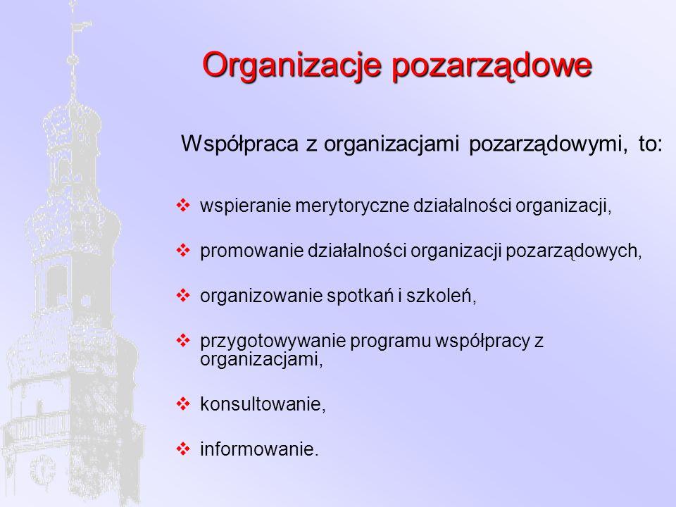 Organizacje pozarządowe Współpraca z organizacjami pozarządowymi, to:  wspieranie merytoryczne działalności organizacji,  promowanie działalności organizacji pozarządowych,  organizowanie spotkań i szkoleń,  przygotowywanie programu współpracy z organizacjami,  konsultowanie,  informowanie.