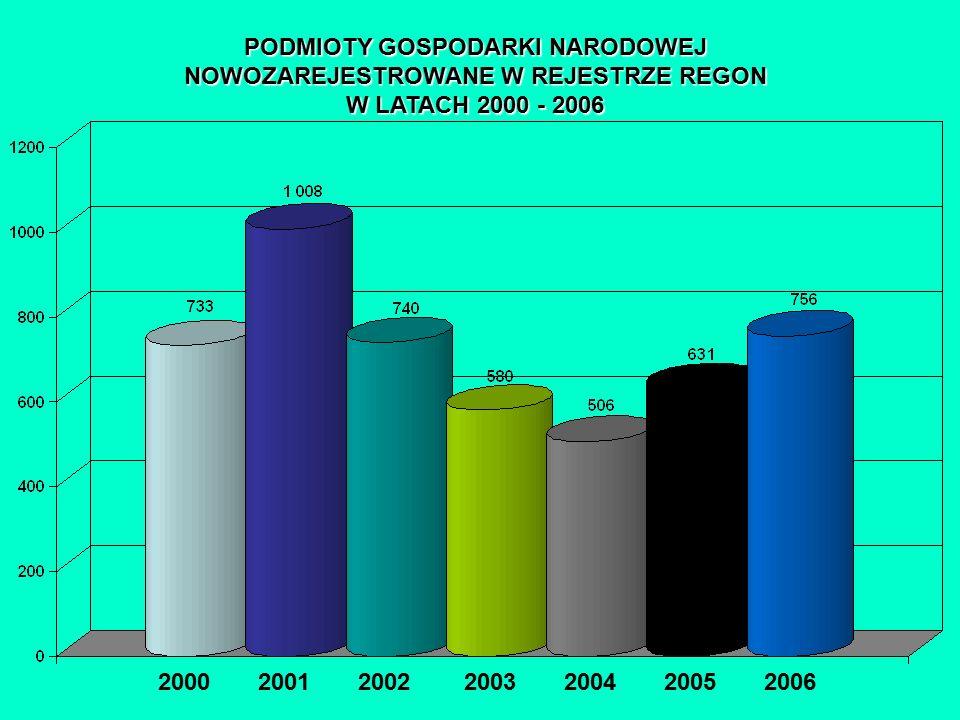PODMIOTY GOSPODARKI NARODOWEJ NOWOZAREJESTROWANE W REJESTRZE REGON W LATACH 2000 - 2006 2000 2001 2002 2003 2004 2005 2006