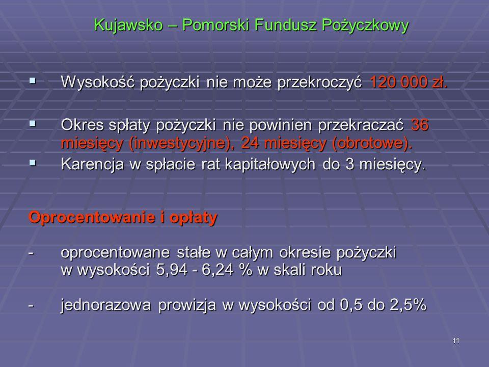 11 Kujawsko – Pomorski Fundusz Pożyczkowy  Wysokość pożyczki nie może przekroczyć 120 000 zł.