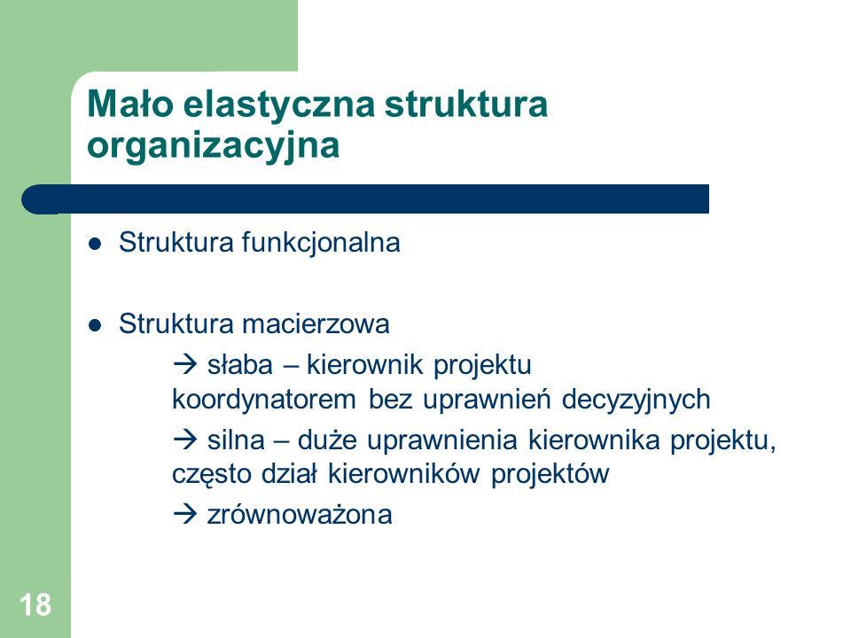 18 Mało elastyczna struktura organizacyjna Struktura funkcjonalna Struktura macierzowa  słaba – kierownik projektu koordynatorem bez uprawnień decyzyjnych  silna – duże uprawnienia kierownika projektu, często dział kierowników projektów  zrównoważona