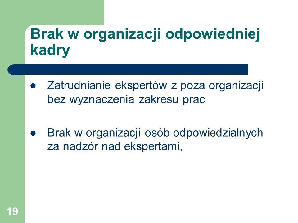 19 Brak w organizacji odpowiedniej kadry Zatrudnianie ekspertów z poza organizacji bez wyznaczenia zakresu prac Brak w organizacji osób odpowiedzialnych za nadzór nad ekspertami,