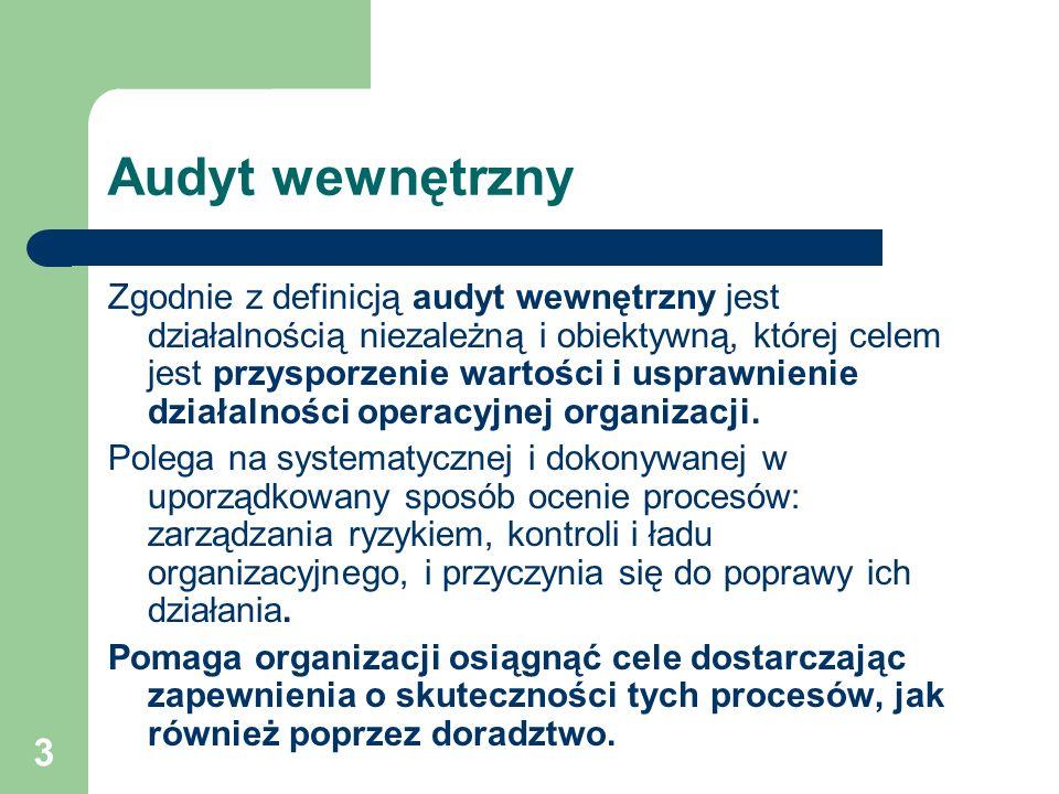 3 Audyt wewnętrzny Zgodnie z definicją audyt wewnętrzny jest działalnością niezależną i obiektywną, której celem jest przysporzenie wartości i usprawnienie działalności operacyjnej organizacji.