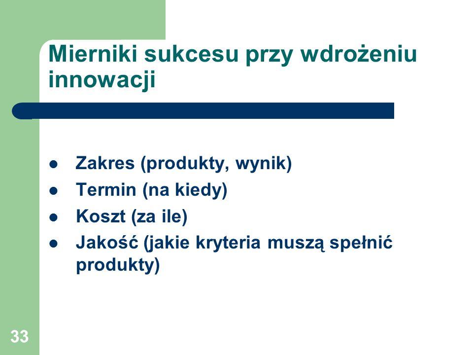 33 Mierniki sukcesu przy wdrożeniu innowacji Zakres (produkty, wynik) Termin (na kiedy) Koszt (za ile) Jakość (jakie kryteria muszą spełnić produkty)