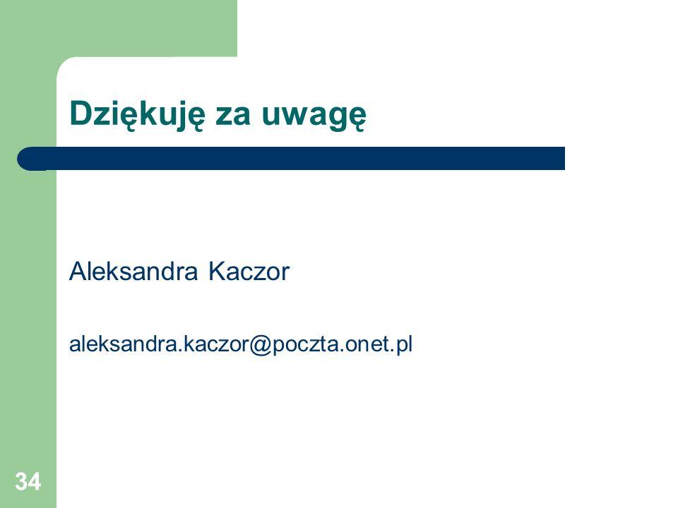 34 Dziękuję za uwagę Aleksandra Kaczor aleksandra.kaczor@poczta.onet.pl