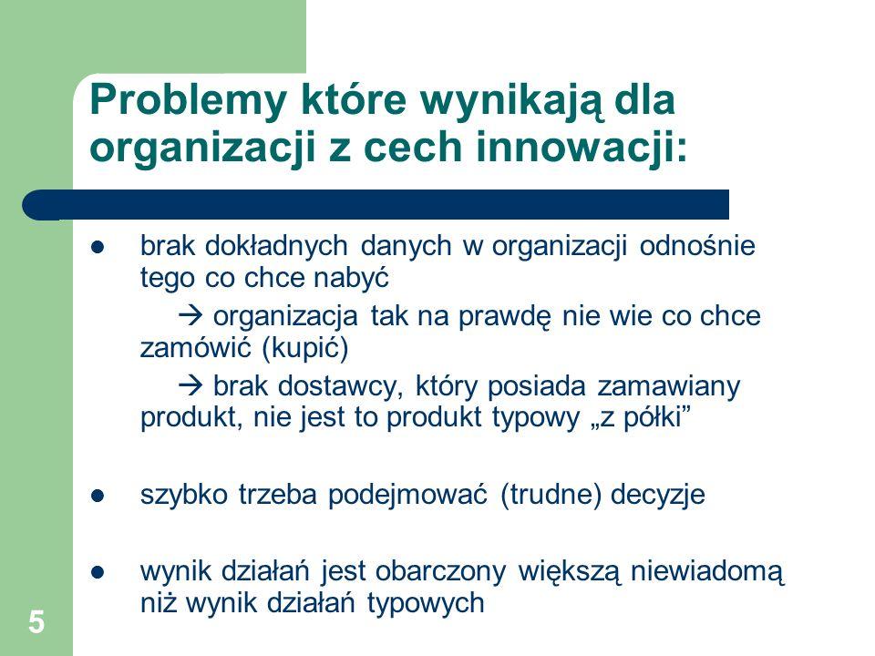 """5 Problemy które wynikają dla organizacji z cech innowacji: brak dokładnych danych w organizacji odnośnie tego co chce nabyć  organizacja tak na prawdę nie wie co chce zamówić (kupić)  brak dostawcy, który posiada zamawiany produkt, nie jest to produkt typowy """"z półki szybko trzeba podejmować (trudne) decyzje wynik działań jest obarczony większą niewiadomą niż wynik działań typowych"""