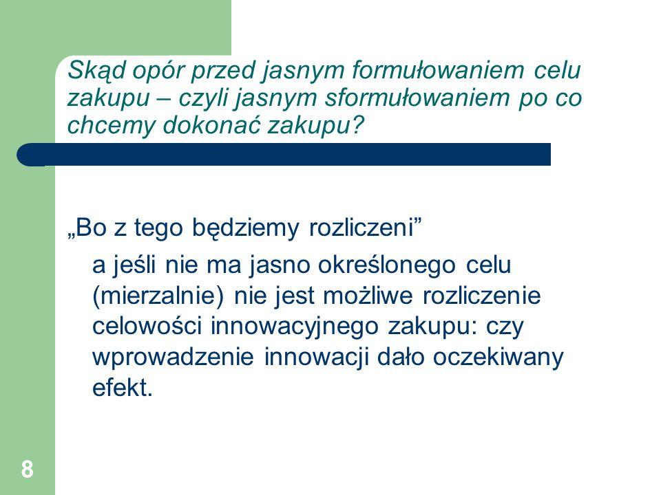 29 Przykład: powołanie zespołów zadaniowych Zespół do spraw analiz ekonomicznych Zespół do projektów UE organizacja nie przygotowana do tego aby stosować strukturę organizacyjną macierzową, brak wpływu kierowników zespołów na decyzje kierownictwa nie skalkulowano czasu pracy dla zespołów, zakres obowiązków przekraczał możliwości
