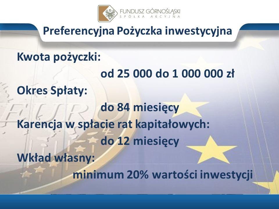 Preferencyjna Pożyczka inwestycyjna Kwota pożyczki: od 25 000 do 1 000 000 zł Okres Spłaty: do 84 miesięcy Karencja w spłacie rat kapitałowych: do 12 miesięcy Wkład własny: minimum 20% wartości inwestycji
