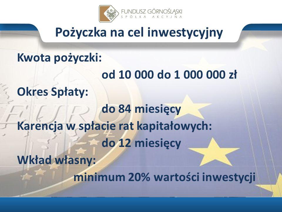 Pożyczka na cel inwestycyjny Kwota pożyczki: od 10 000 do 1 000 000 zł Okres Spłaty: do 84 miesięcy Karencja w spłacie rat kapitałowych: do 12 miesięcy Wkład własny: minimum 20% wartości inwestycji