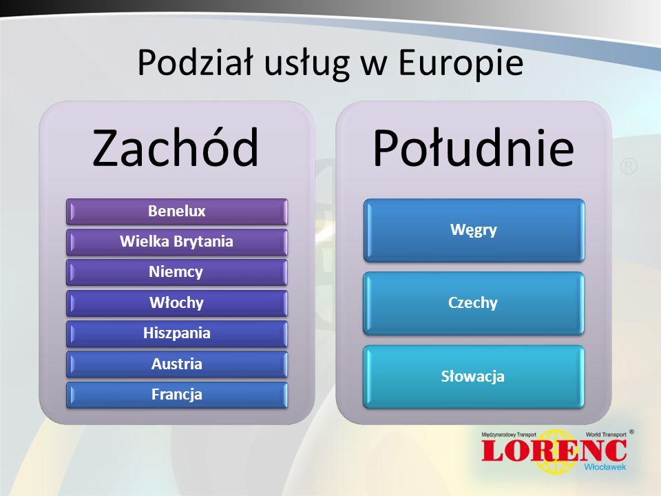 Podział usług w Europie Zachód BeneluxWielka BrytaniaNiemcyWłochyHiszpaniaAustriaFrancja Południe WęgryCzechySłowacja