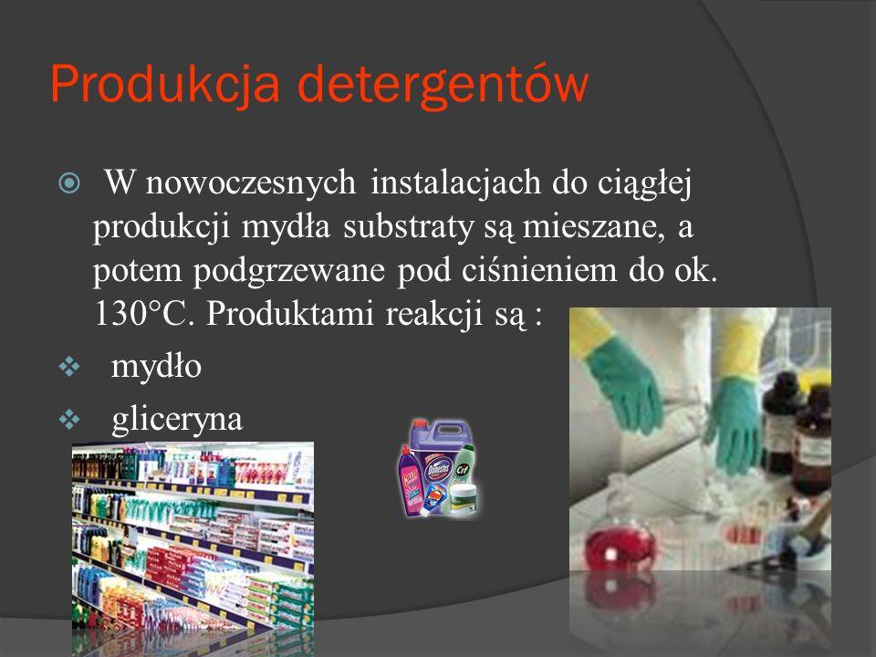 Produkcja detergentów  W nowoczesnych instalacjach do ciągłej produkcji mydła substraty są mieszane, a potem podgrzewane pod ciśnieniem do ok.