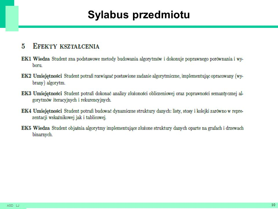 Sylabus przedmiotu ASD LJ 10