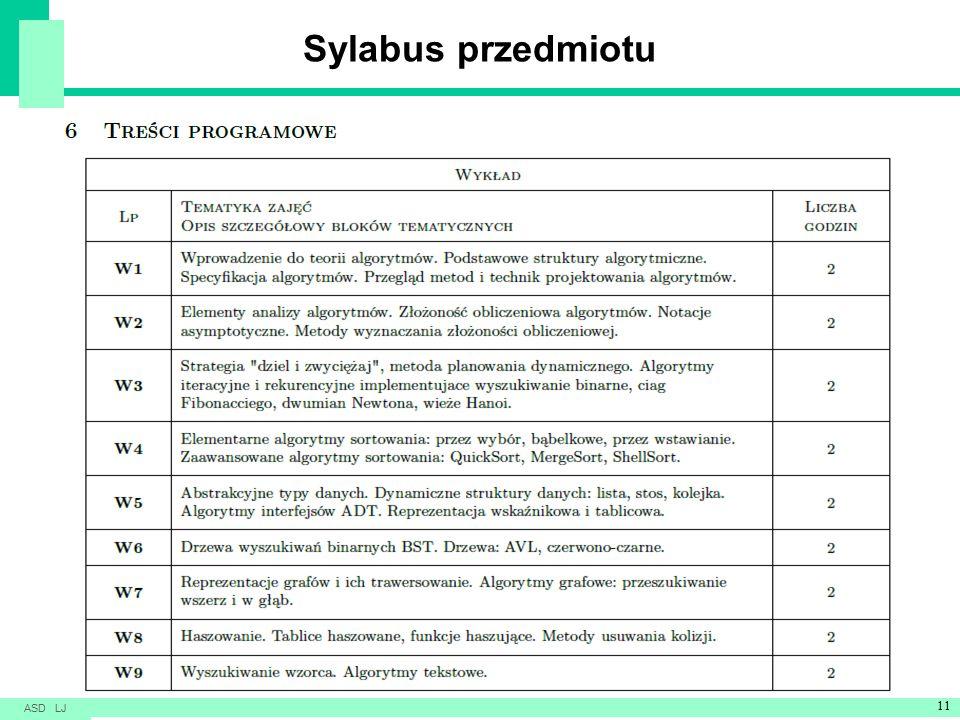 Sylabus przedmiotu ASD LJ 11