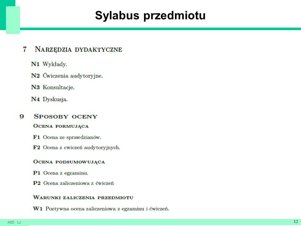Sylabus przedmiotu ASD LJ 12