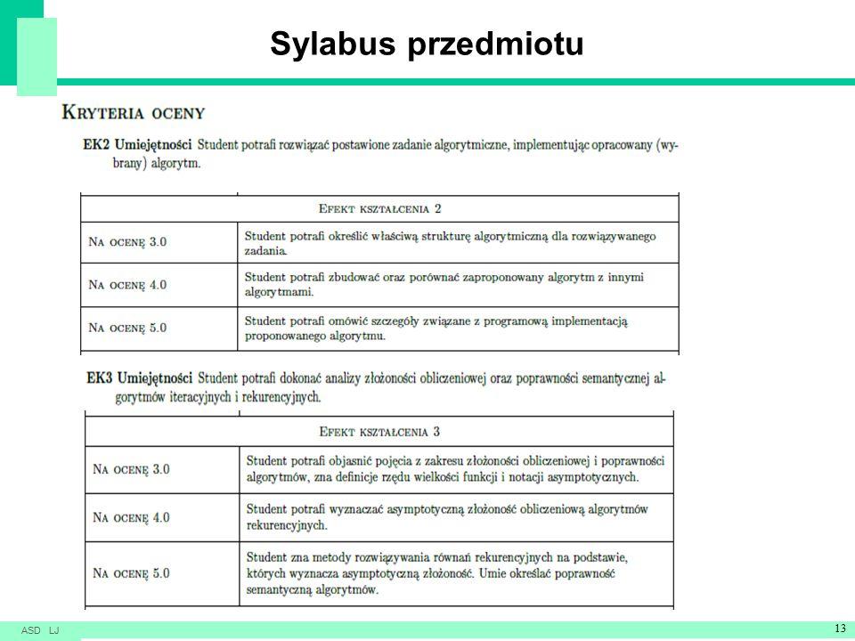 Sylabus przedmiotu ASD LJ 13