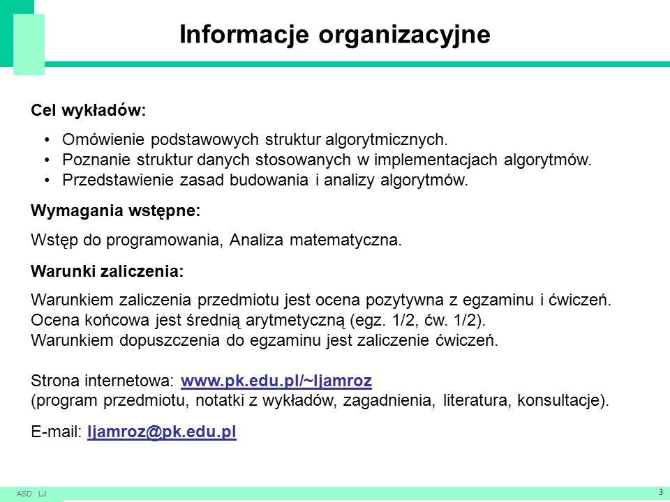 Informacje organizacyjne Cel wykładów: Omówienie podstawowych struktur algorytmicznych.