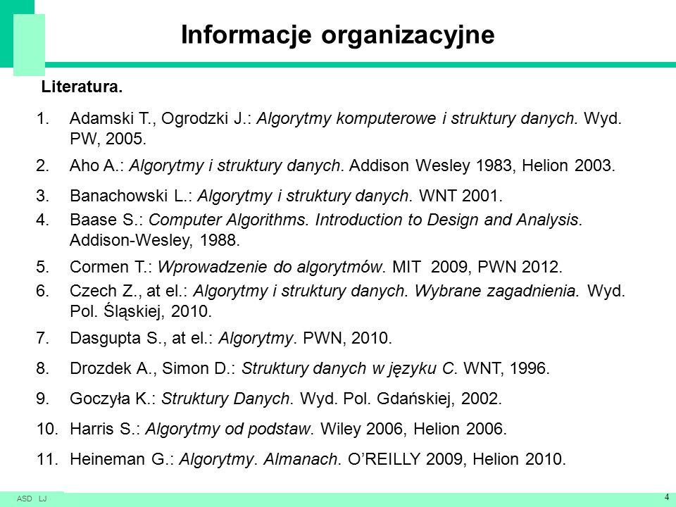 Informacje organizacyjne Literatura.